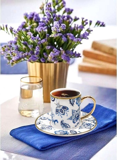 The Mia Dilaila Kahve & Su Bardağı Seti 6 Kişilik Mavi